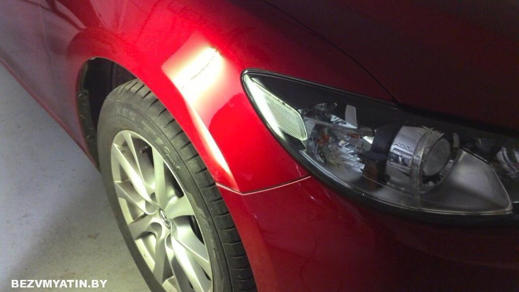 Mazda 6 - вмятина на переднем правом крыле, после ремонта