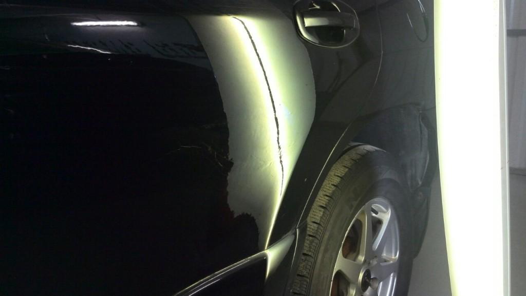Hyundai Tucson - вмятина на задней левой двери после ремонта