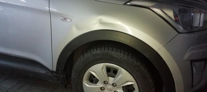 Hyundai Creta — вмятина на переднем крыле.